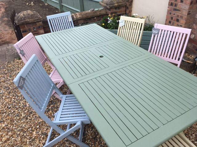 Sarah of Renovate Me talks through how to paint garden furniture. A transformation of a wooden furniture set using pastel colours.
