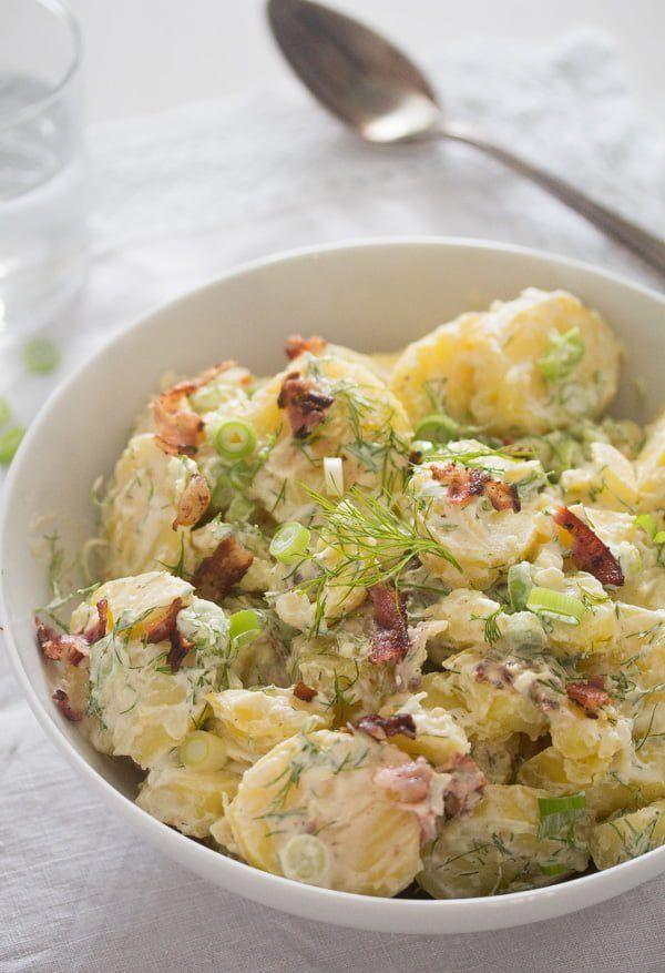 Sour Cream Potato Salad With Bacon Potato Salad Without Mayo Whereismyspoon Potatosalad Pota Sour Cream Potato Salad Sour Cream Potatoes Bacon Potato Salad