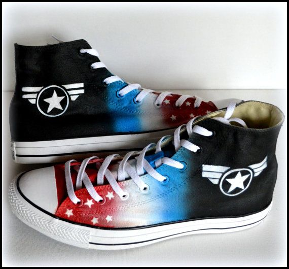 Custom Painted Mens Converse Size 12 Shoes Captain by PricklyPaw