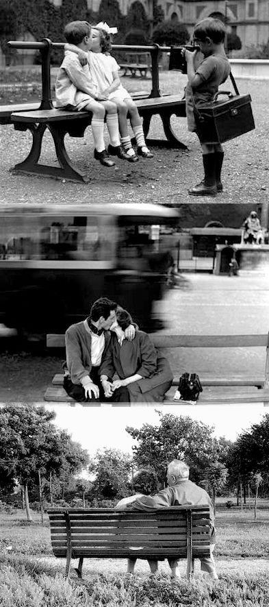 Le panchine raccontano le storie dei nostri amori: dal primo bacio dell'infanzia, a quello passionale della gioventù, all'abbraccio amorevole della vecchiaia.