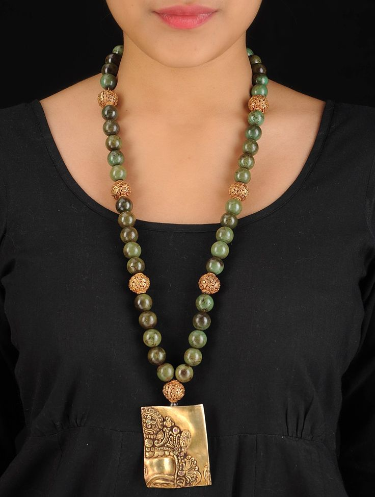 Buy Golden Green Ethno Bold Silver Necklace 92.5% Sterling Semi Precious Stone Jewelry Tantalizing Treasures Tribal Inspired Online at Jaypore.com
