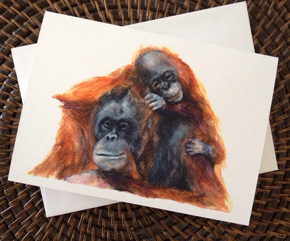 Orangutan and Baby Blank Greeting Card on Etsy, $4.00 CAD