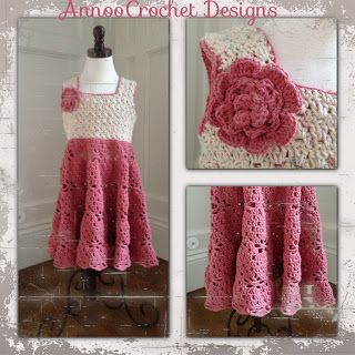Little Girl Vintage Dress Free Pattern   By AnnooCrochet Designs                  I have always wanted to Try to make a Crochet Dress, bu...