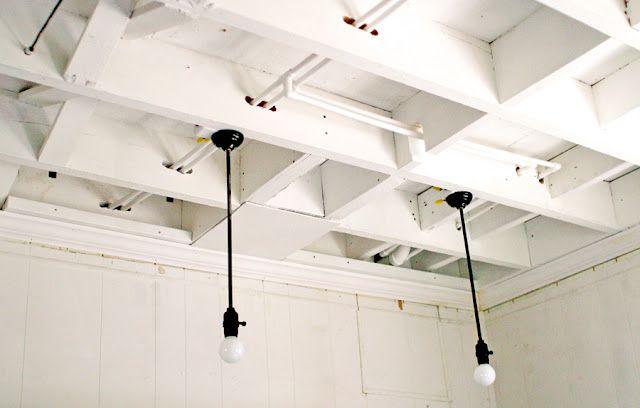 basement lighting + exposed ceiling