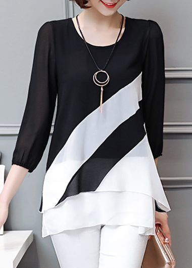 Black and White Color Block 3/4 Sleeve Tunic Top