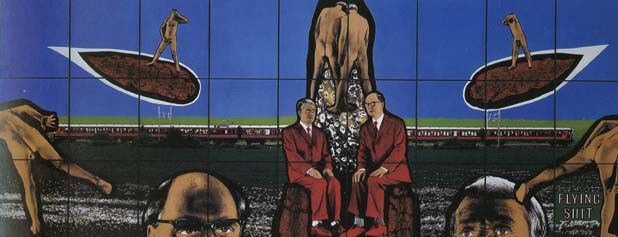 """Flying Shit by Gilbert and George """"Fundamentally, there's something religious about the fact that we're made of shit. We consist of the stuff. It's our nourishment, it belongs to us, we're part of it, and we show this in a positive light."""""""