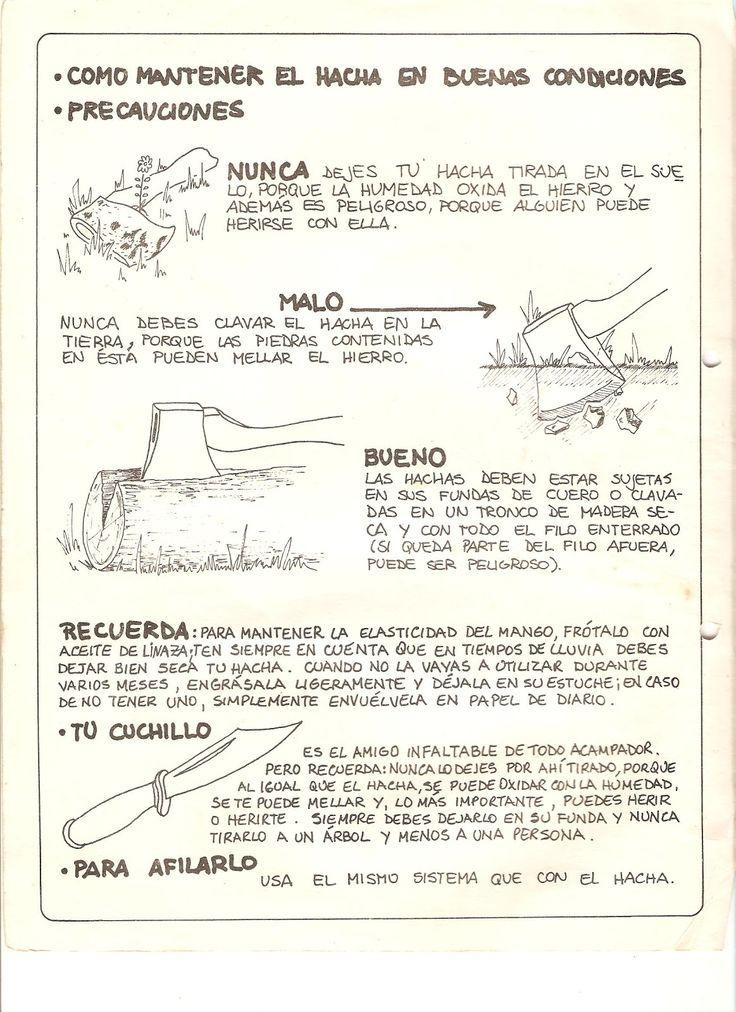 FICHAS TÉCNICAS PARA CAMPAMENTO: HACHA Y CUCHILLO 1 (2 hojas)