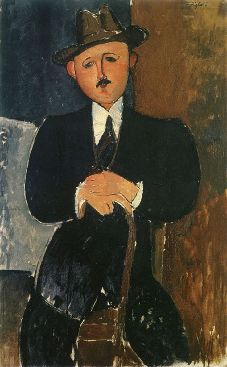 "Modigilani: title unknown [man in suit, hat with cane]. ""Art dealer, Nahmad sued over painting!"""