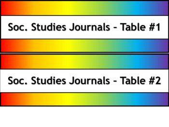 Student Journals Storage Labels - Subject - Narrow V2 - Noah's Rainbow