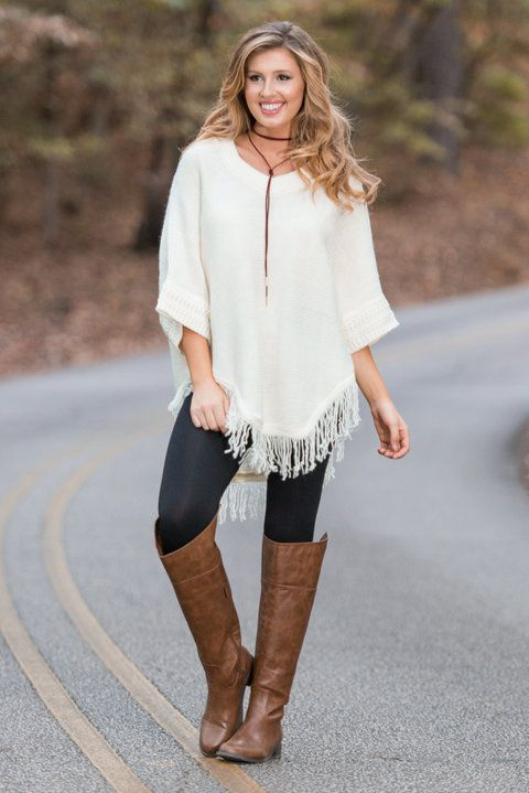 """""""Western Way Poncho, Ivory"""" This poncho was perfection last year and it's perfection this year! The whole fit of it is everything we could have asked for. The loose fit, the low dolman sleeve, the Western feel and the fringe all come together to make one beautiful poncho!  #Newarrivals #shopthemint"""