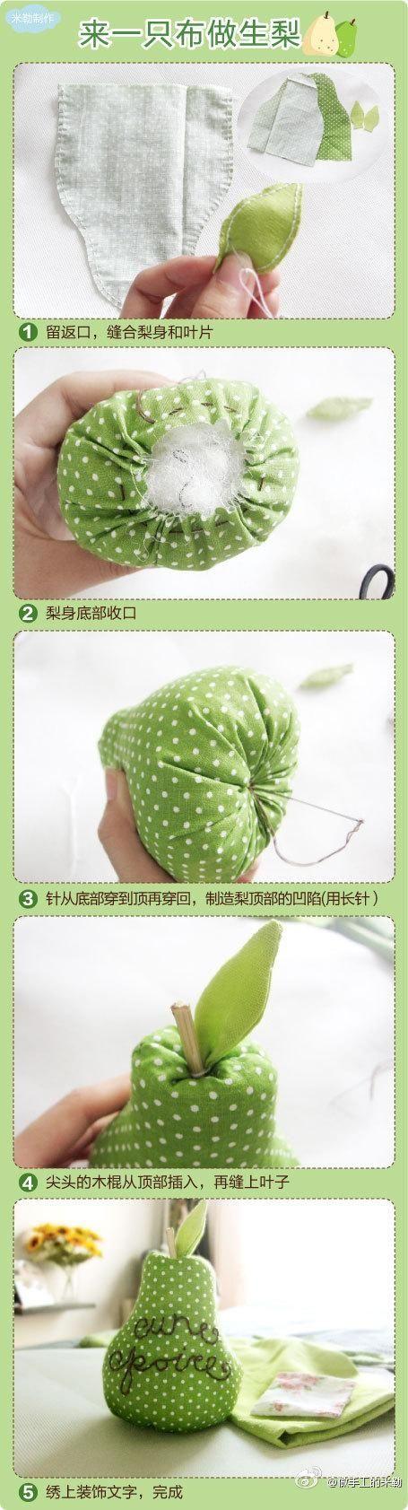 diy pear pin cushion