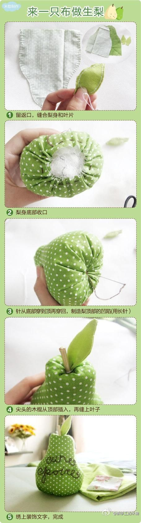 diy pear pin cushion might be a good decoration for the girl's very hungry caterpillar party!
