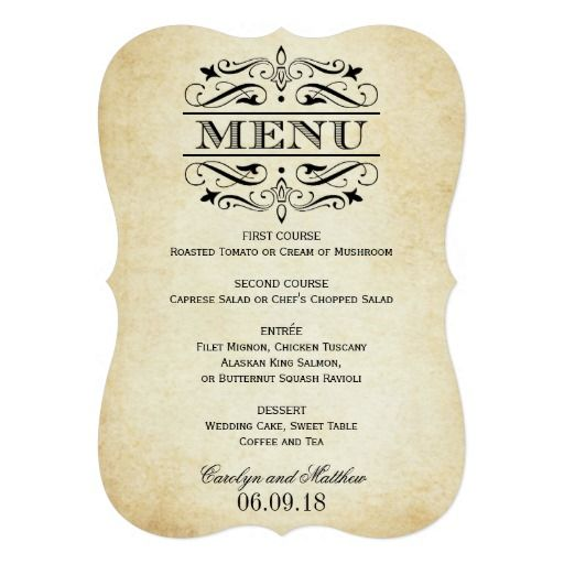 Elegant And Formal Wedding Dinner Menu Cards Feature Decorative Swirls And  Flourishes That Frame The Design. White Background Color With Black Design.  Formal Dinner Menu Template