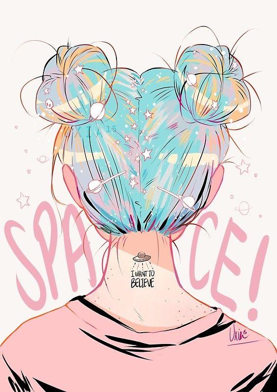 Space Buns Art Print By Uxia15 Anime Art Girl Illustration Artwork Cute Art