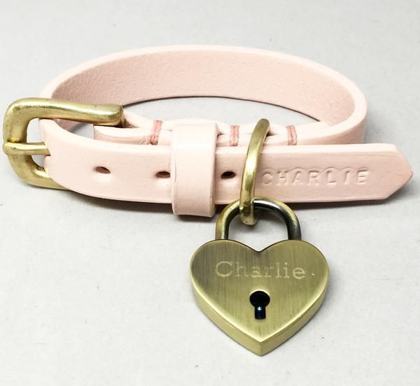 Pastel Pink Personalised Classic Leather Dog Collar – Broughton & Co