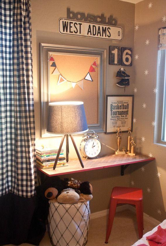 Boy Sports Room Makeover Create And Extended Shelf Desk Kellers Pinterest