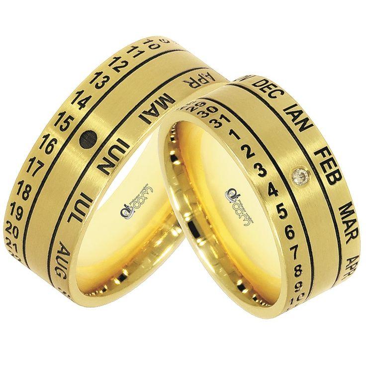 Verighete personalizate WEDDING DAY aur galben