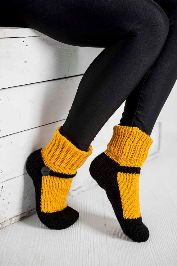Knit Slipper Socks Adult Mary Jane Slippers Sox Dark Yellow House Slippers Womens Slippers Home Slippers Black House Shoes Gifts Under 40