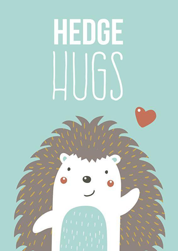 Poster Hedge hugs mint A4. Lieve egeltjes poster in mintgroen met quote Hedge hugs. Leuke decoratie voor de babykamer en kinderamer. Geprint op 250 grams papier. Past bij de egel hanglamp en wandlamp.