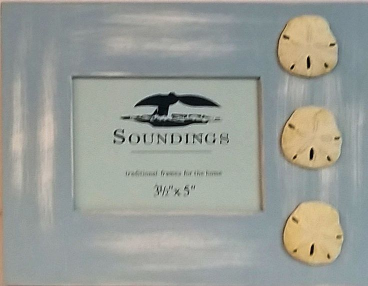 Sand Dollar Lt Blue Picture Frame Soundings 3.5x5 Photo Frame Picture Free Stand #Soundings #SummerCottage
