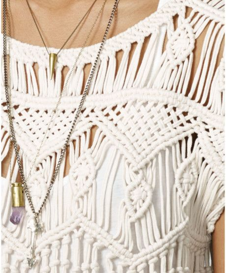 Wide Macrame Belts | ... Supply Ralph Lauren Shortsleeve Macramé Top in Beige (Vintage Cream