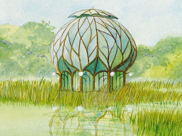 La Maison Cristal, Luc Schuiten, 1977. Dessinée sur base du 18ième talisman du vieillard des pyramides, ce projet est offert en 1977 en cadeau de mariage pour un couple d'amis. Le projet a été imaginé en plusieurs versions.