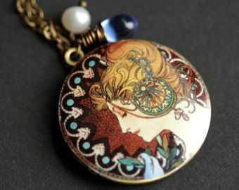 Alfonse Mucha Locket Necklace. Mucha's Feather Art Nouveau Necklace with Glass Teardrop and Fresh Water Pearl. Handmade Jewelry.
