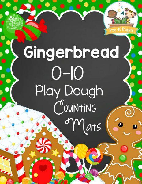Free Gingerbread play dough mats to help your kids develop number sense and fluency within ten in preschool and kindergarten.