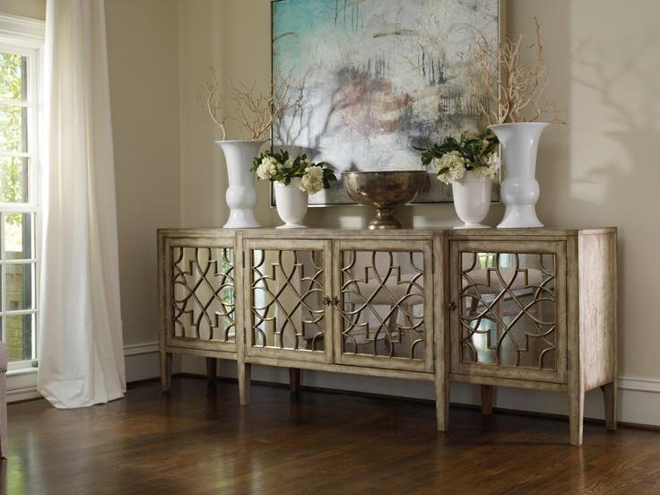 Light Oak Mirrored Art Deco Credenza Sideboard Hooker FurnitureDining RoomsDining Room BuffetDining