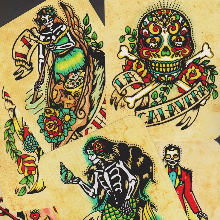 day of the dead art postcards mexican loteria tattoo art set of 8 designs new from. Black Bedroom Furniture Sets. Home Design Ideas