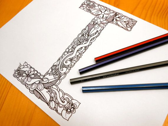 Letter I Colouring page Decoration by GardenDoodles on Etsy