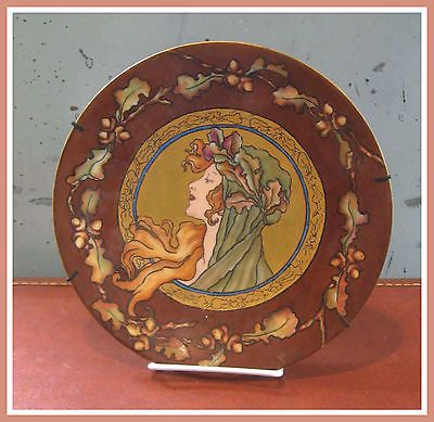 Art-Nouveau-Porrait-Porcelain-Plate-Philip-Rosenthal-Co-of-Kronach-Bavaria
