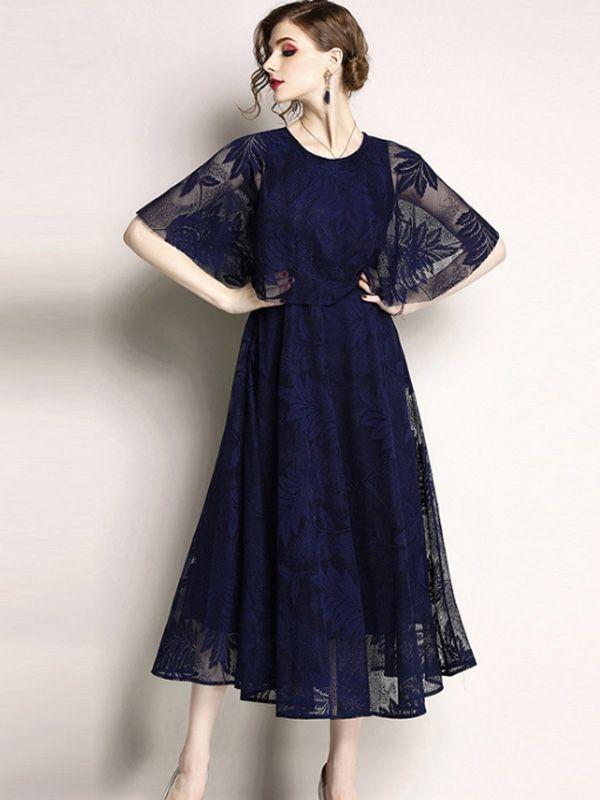1c40de7554b6 Contrast Solid Color O-Neck Sleeveless Dresses #Dress #LaceDresses  #Jollyhers
