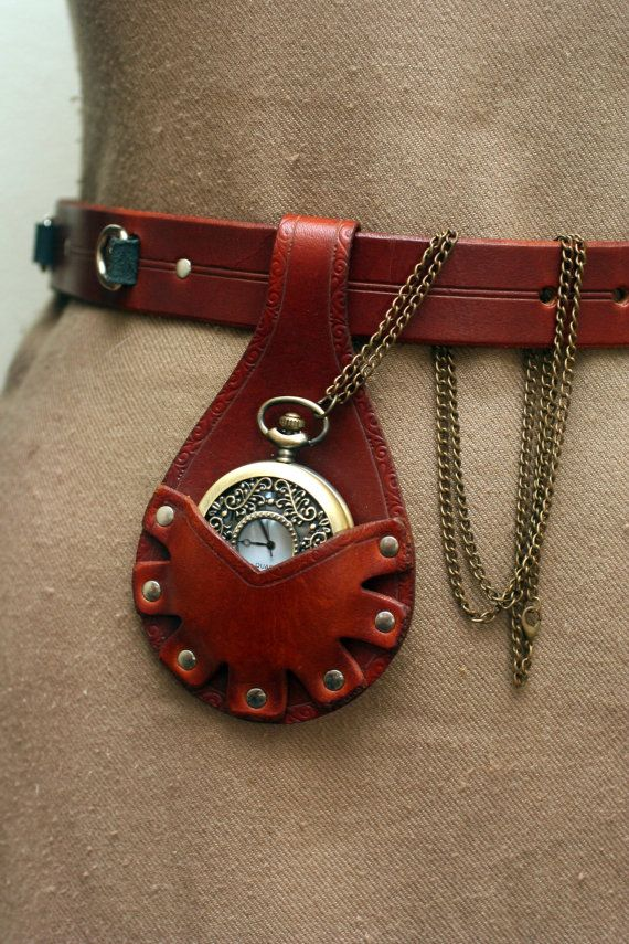 Steampunk Leather Pocket Watch Holster---Light Brown with Scrollwork Design
