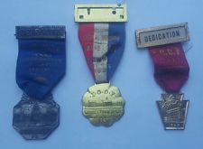 3 Antique Harrisburg Pa Fraternal Labor Ribbons Medals Badges LOOF