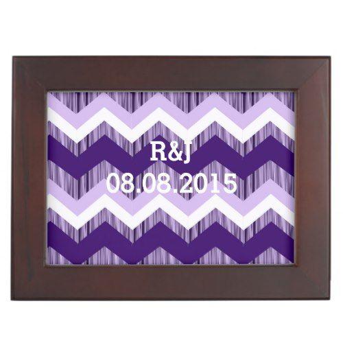modern chic vintage ombre purple chevron wedding keepsake box