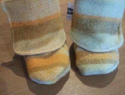 Upcycled Wool Blanket Baby Boots- Retro Orange & Brown