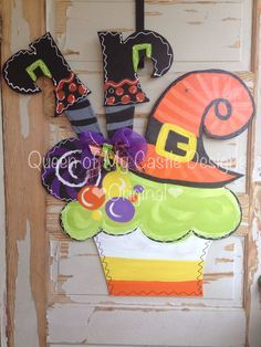 Whimsical Witch Cupcake Halloween Door Hanger by queensofcastles, $50.00