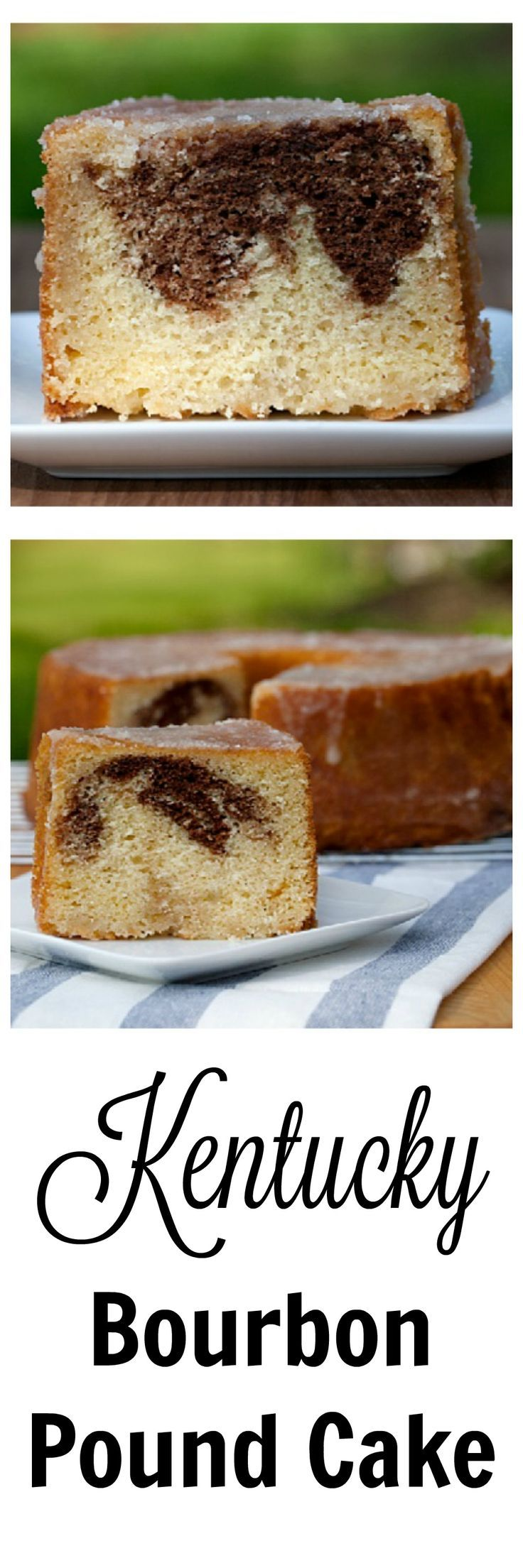 Pound cakes are a southern tradition. This bourbon pound cake is made Kentucky-style with a bourbon glaze and chocolate marbling. #dessert #cake