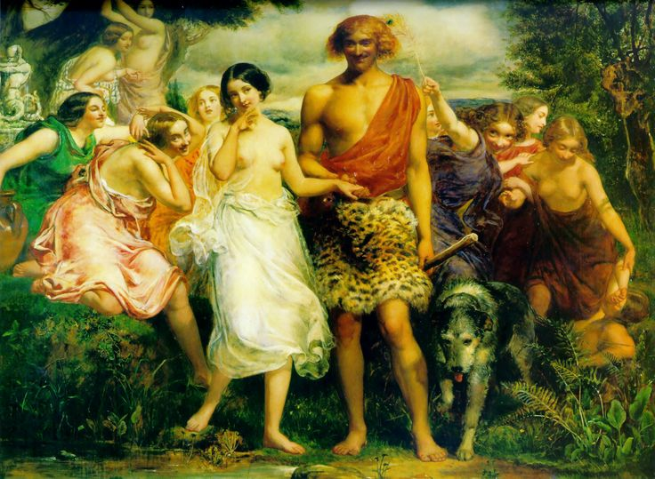 Cymon and Iphigenia (in Greek mythology, the daughter of Clytemnestra and Agamemnon; Agamemnon was obliged to offer her as a sacrifice to Artemis when the Greek fleet was becalmed on its way to Troy; Artemis rescued her and she later became a priestess), painted by John Everett Millais (1848). Millais's early works were strongly influenced by William Etty.