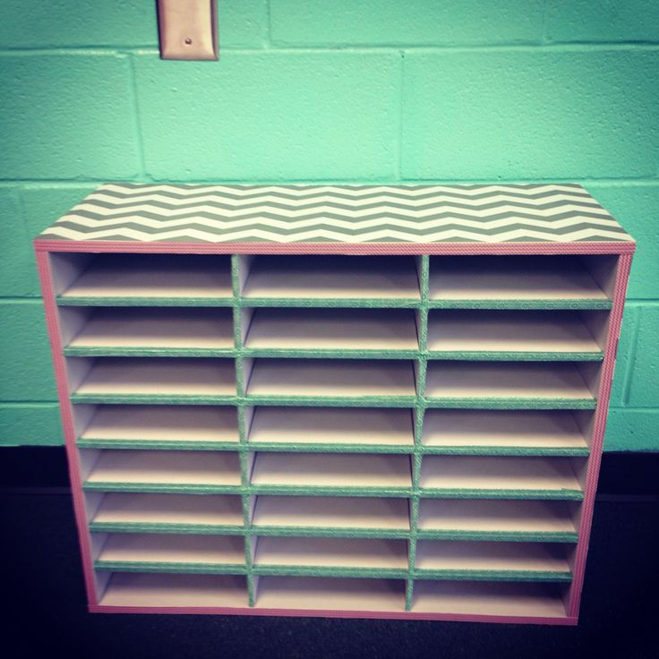 Classroom mailboxes I decorated with chevron contact paper and washi tape.