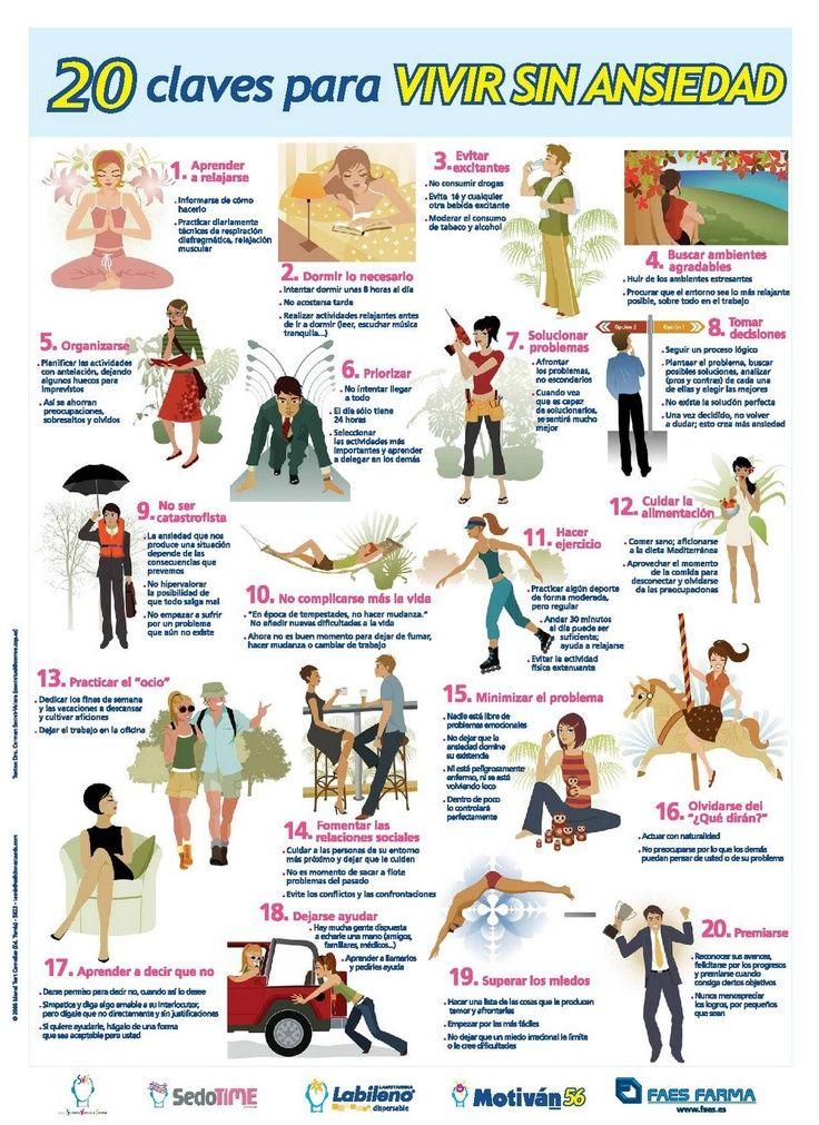 20 claves para vivir sin ansiedad. #salud #ansiedad #infografia
