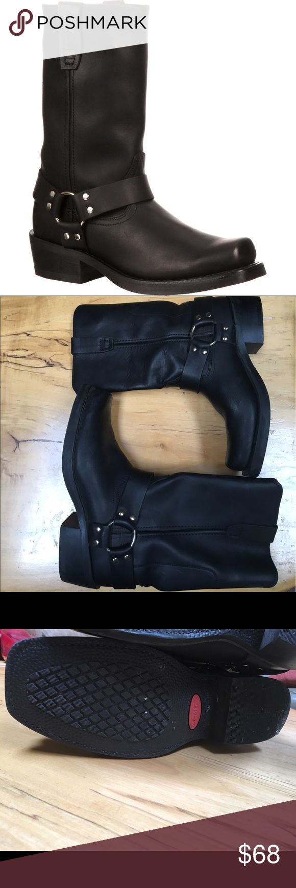 Black leather Durango Motorcycle boots BRAND NEW! Black leather moto boots, brand is Durango. Originally $160. Only worn once. They say men's 8.5 but we're worn as a woman's shoe size 10.5. Can go either way! Durango Shoes Combat & Moto Boots