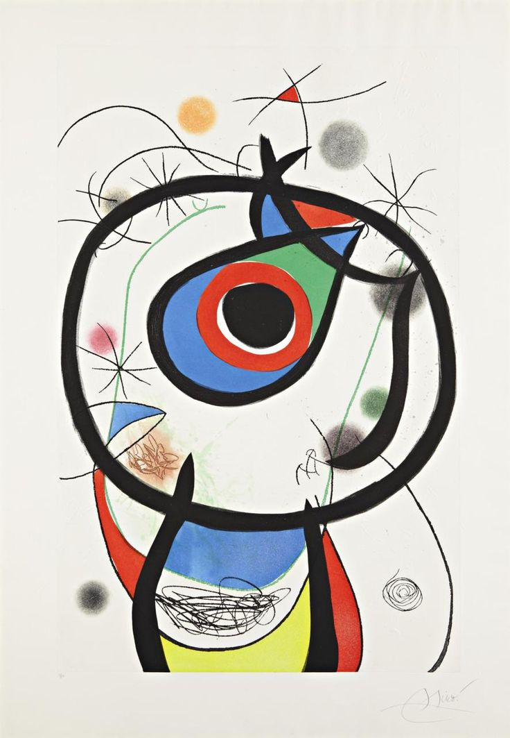 JOAN MIRO Galathée,1976 Etching and aquatint in colors with embossing,  on Arches paper with `MAEGHT' watermark, with full margins (deckle on  two sides),I. 45 3/8 x 29 1/8 in. (115.3 x 74 cm) S. 54 ¼ x 37 ¾ in. (137.8 x 95.9 cm)