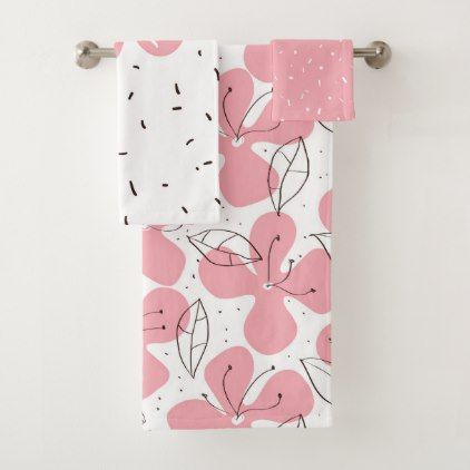 Pink abstract floral patterns bath towel set - pattern sample design template diy cyo customize