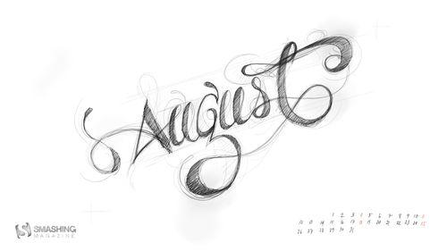Handwritten August calender
