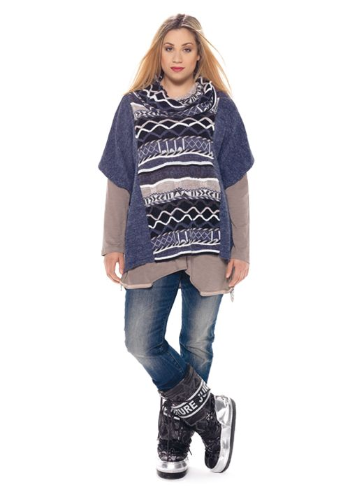 mat. F/W2014/15. Sweater with cable-knitted texture & Straight-leg cloudy blue jeans (Dogoda Trend)
