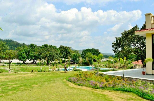 resort at jim corbett with swimming pool