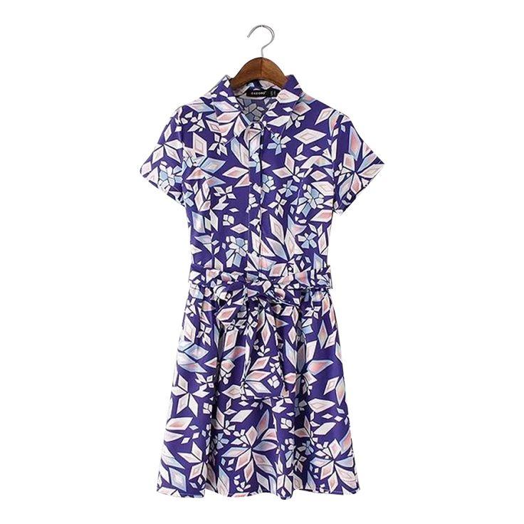 YY79 Americanas de Moda 2016 de Las Mujeres del Verano Estampado Geométrico Púrpura Mini Vestido Turn down Collar Cintas Arco Vestidos Ocasionales de La Vendimia en Vestidos de Moda y Complementos Mujer en AliExpress.com | Alibaba Group