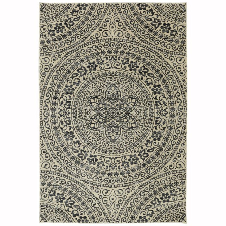 Charcoal And Ivory Belle Fleurs Rug 7 X 10 Ft My Home
